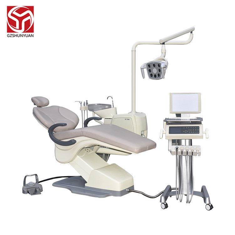 Hot sale produce Luxury Leather Movable tray  dental unit chair best dental units dental equipment