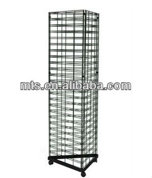 Black Triangle Slat Grid Tower with Base /& Casters