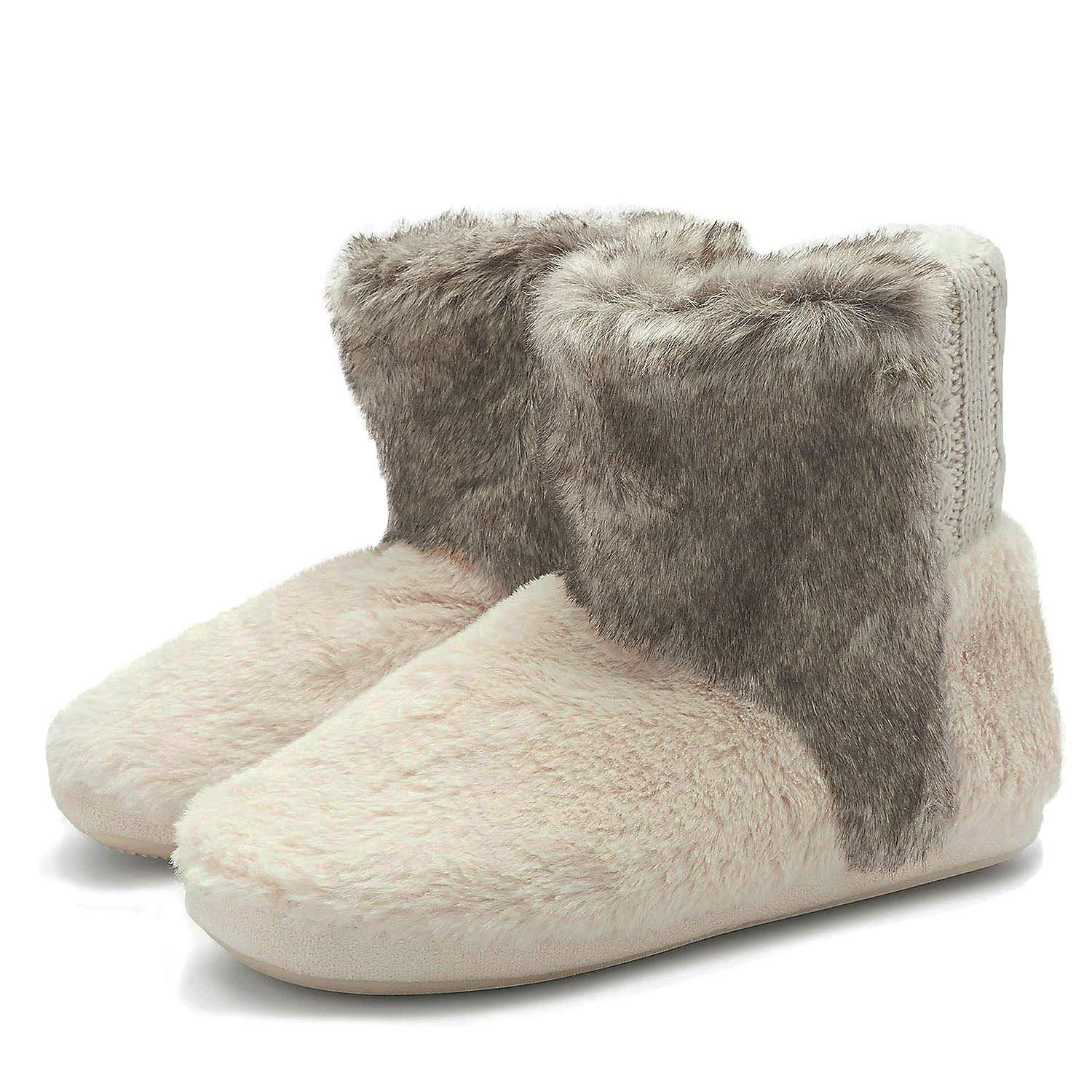 74cfa58ec865f Get Quotations · COFACE Womens Warm Slipper Boots Winter Fluffy Fur Lined  Indoor House Bootie