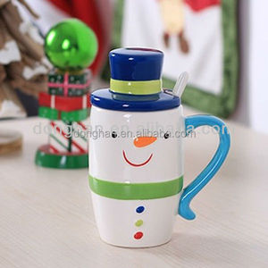 hand printed ceramics snowman cup with lid