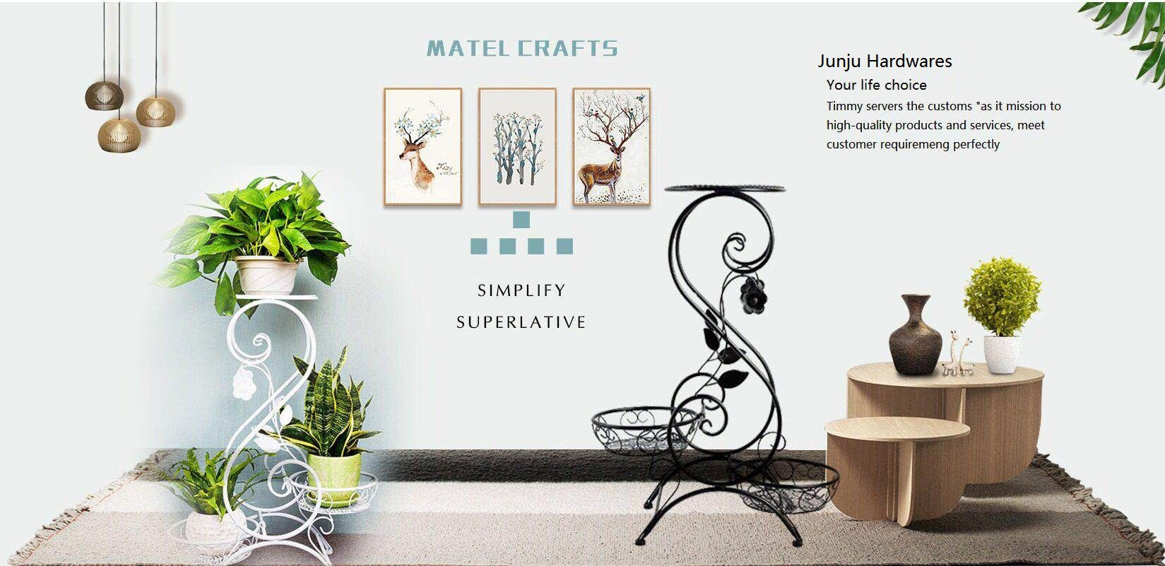 Modern design durable tall metal hanging plant stand for flower display