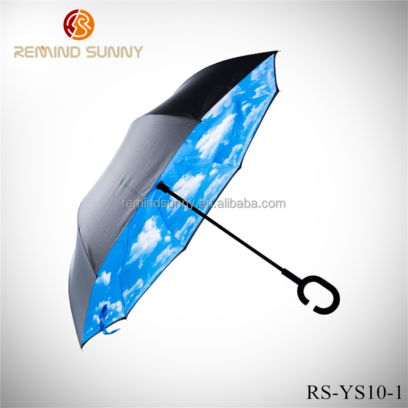 Inverted Umbrella Double Layer Windproof UV Protection Sun&Rain Car Reverse folding Umbrellas