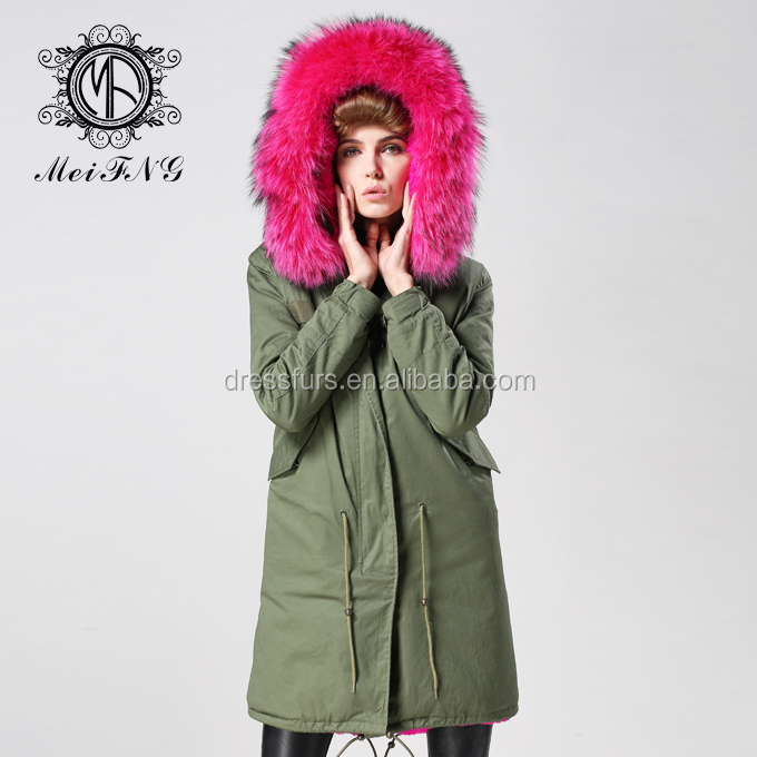China factory MeiFng brand women fur hooded parka cheap faux fur lining ciats with rose red big fur hood coat
