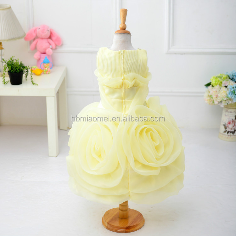 2017 big flower3D flower children girl dress O neck sleeveless colorful baby girl wedding dress with cheap price