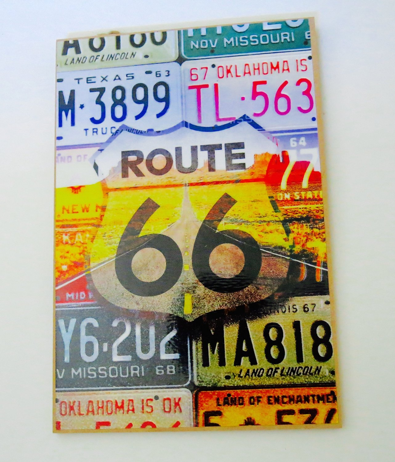 Buy Route 66, License Plates, Souvenir, Wall Decor, 10x7 Wood Wall ...