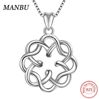 necklace 925 silver irish infinity endless love celtic knot vintage pendant necklace AM377