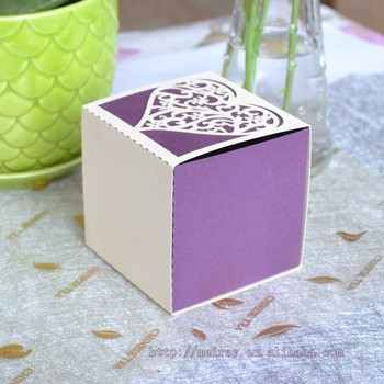 Square Wedding Favor Boxes With Heart Designlaser Cut Purpleivory