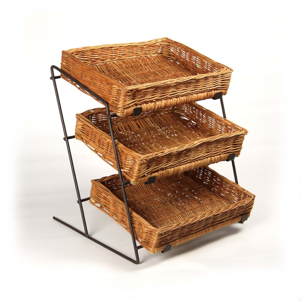 Counter Top Display Stand with Wicker Baskets