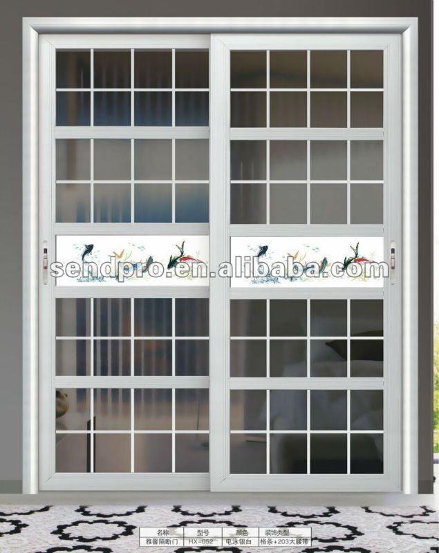 Brushed Silver Aluminum Alloy Sliding Glass Door Grill Design For