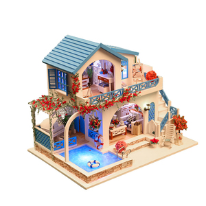 2018 new educational gift ce miniature dollhouse wooden diy toy+dollhouse  miniatures furniture wholesale