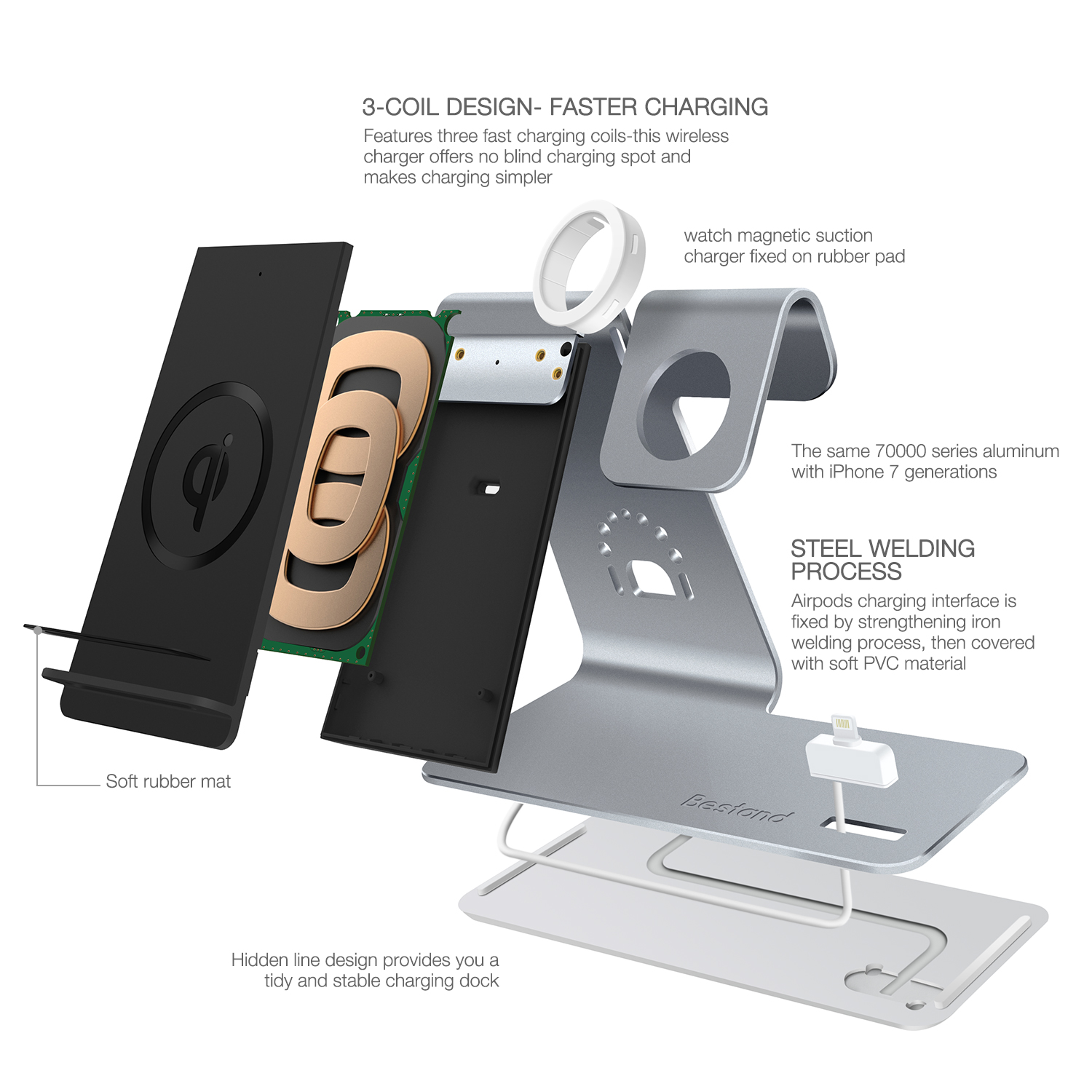 3 in 1 qi standard Wireless Charger charging station for phone Watch and Airpod