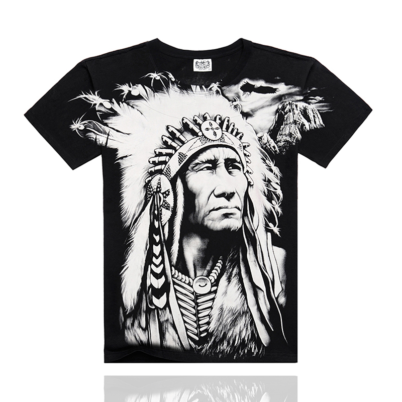 2015 New Style Mens Summer 3D Printed T Shirt Fashion Casual T-shirts Europe Design Men Indian Chief Print 3D Short Sleeve