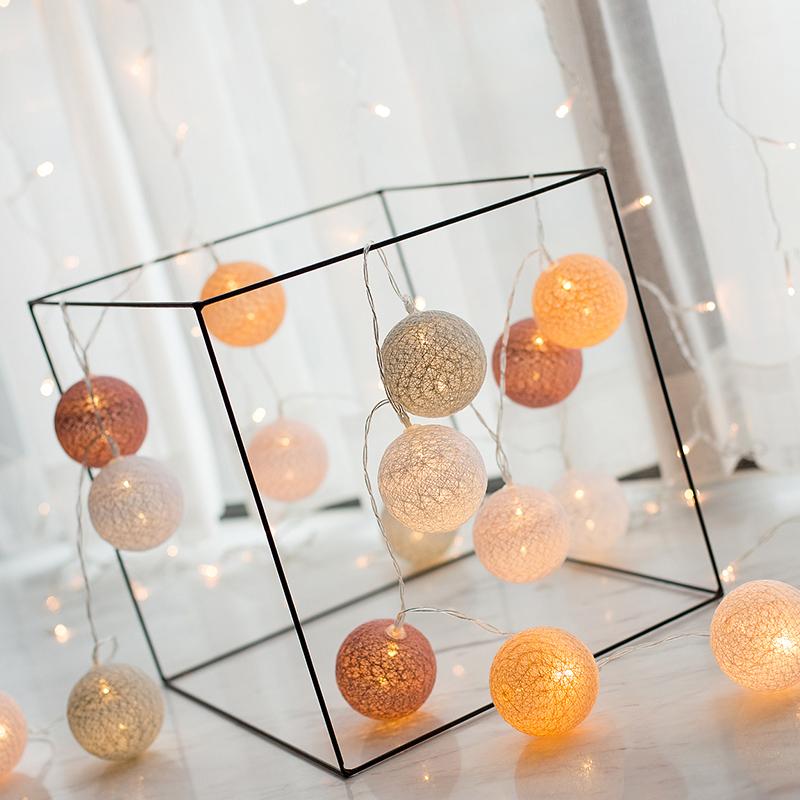 ROPIO room decorative battery powered usb macaroon color cotton ball string led decoration light