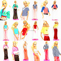 40 PCS Clothing Suit Hangers Shoes Handmade Doll Dress Set Outfit Leisure Wear Accessories For 1