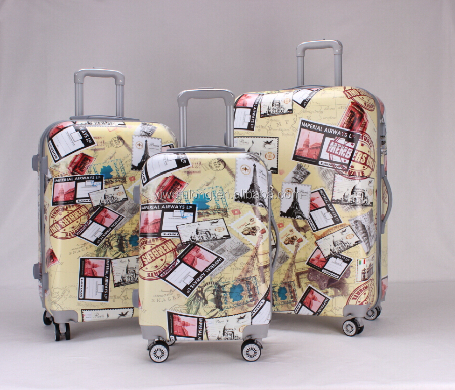 Fashionable ABS polycarbonate luggage with full printing