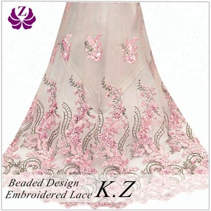 guangzhou mesh wholesale beaded lace dress fabric embroidered
