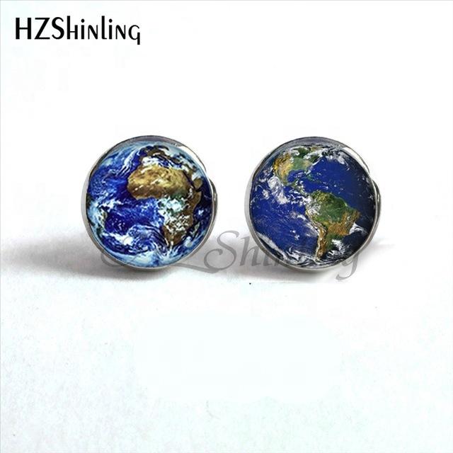 2019 Custom World Earth Studs Earrings World Map Glass Earrings Globe Jewelry World Earth Stud Earrings For Woman Men фото
