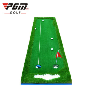 High quality artificial synthetic green color grass turf indoor used portable 2 hole 3 meters PGM EVA base golf green putter mat