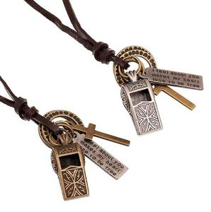 PK128 Huilin Genuine Leather Necklace Punk Vintage Leather Jewelry Men Women Whistle Model Pendant Necklace