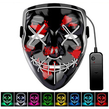 Halloween LED Licht <span class=keywords><strong>Maske</strong></span> Scary Lächelndes gesicht Rave Purge Festival Cosplay Partei