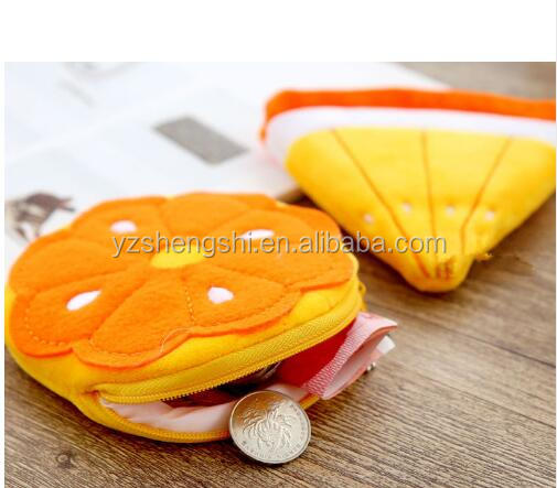 All Fruit Shaped plush Small Coins Zippers Purses bag /plush lemon pocket bag and Key Pouch