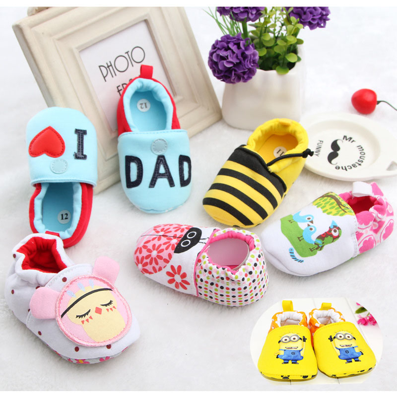 New Cute Cartoon 0-1 Baby Shoes Minion Elastic Flooring Shoes Spring Autumn Winter Kids Boy Girl First Walkers Shoes 16226