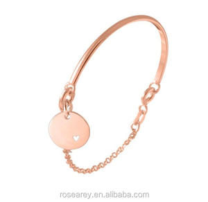 Trendy Stainless Steel Rose Gold Half Bangle Hollow Heart Disk Disc Charms Women Girls Chain Stacking Bracelet