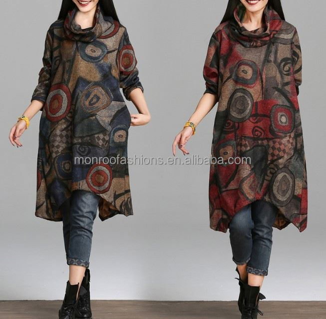 monroo new art style women clothes medium length casual women dress