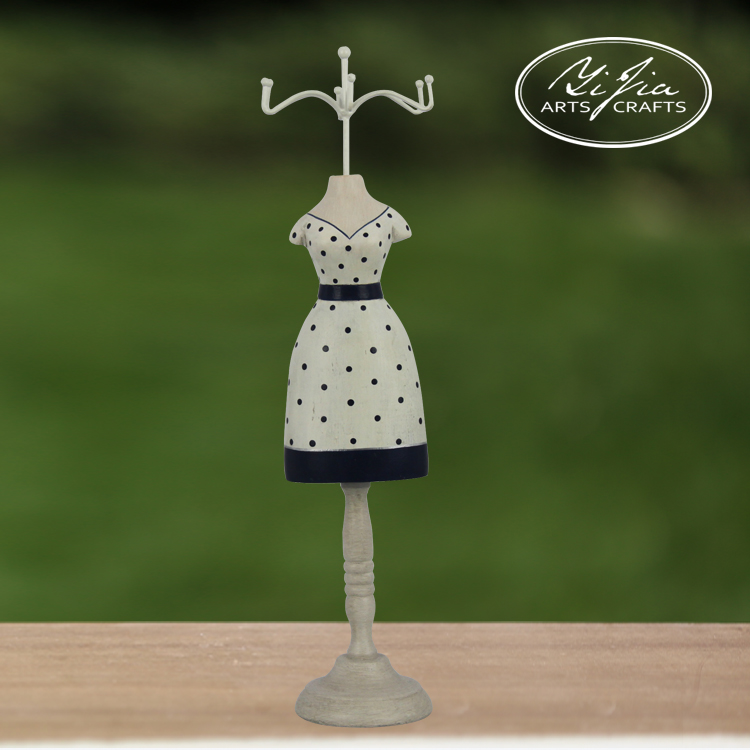 Polka Dot Mannequin Earring Holder Craft Picture Tabletop Home Decor