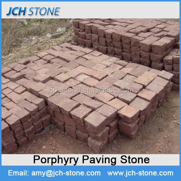 natural red porphyry cubes paver garden paving stone