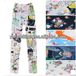 Latest Fashion Promotion China Custom Manufacturer Bohemi Bright Color Graffiti with Animal Women Sex Photo Print Women Leggings