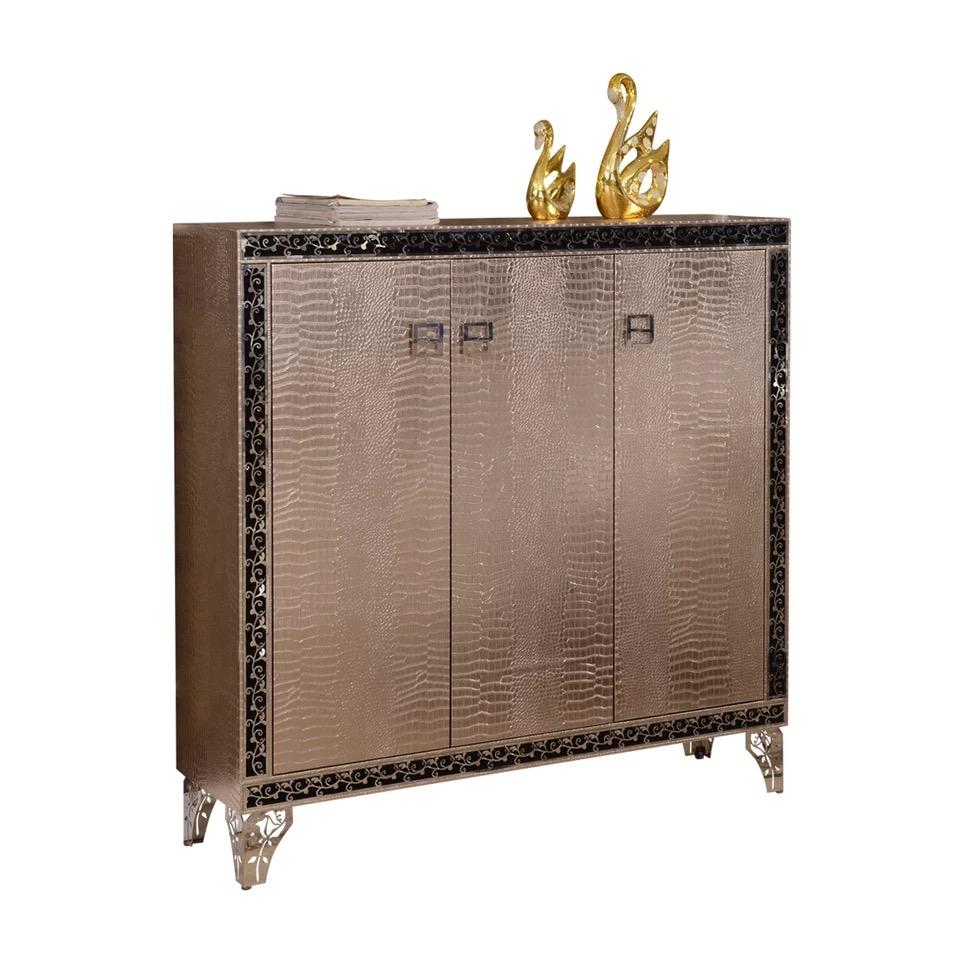 F458 Moderno Contempor Neo Acero Inoxidable Plata Oro Cuero  # Muebles Postmodernos