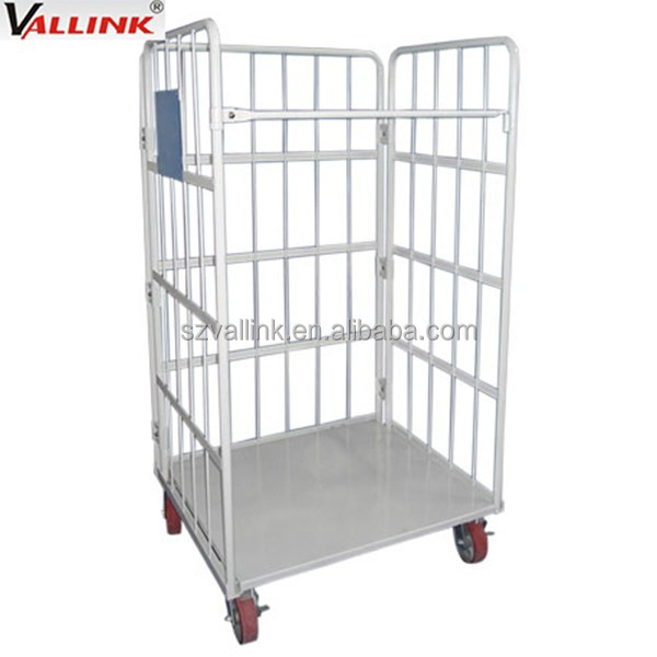 3 sided steel platform roll cage trolley