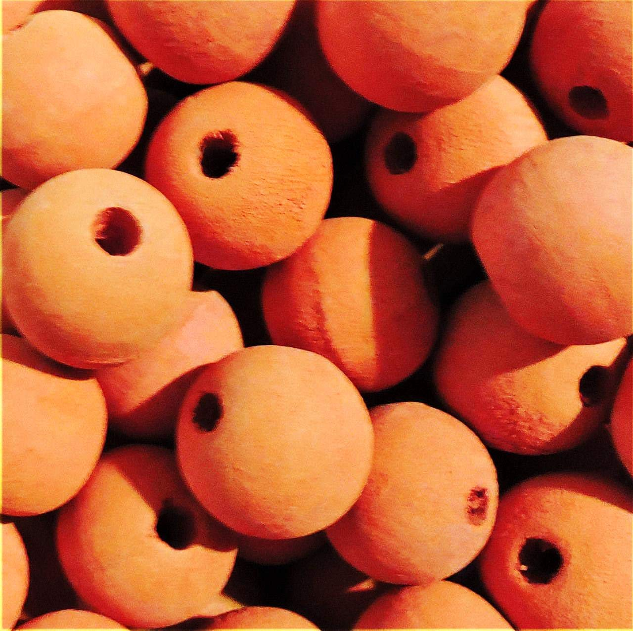 20mm Macrame Large 5mm Hole Round Rustic Rose Wood Beads You Design Them Orange per Pack 48 Beads