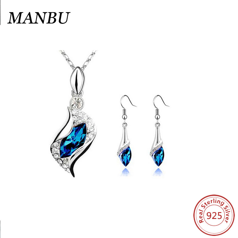 Elegant 925 Sterling Silver Jewelry Blue Sapphire Pendant Necklace and Drop Earrings Set