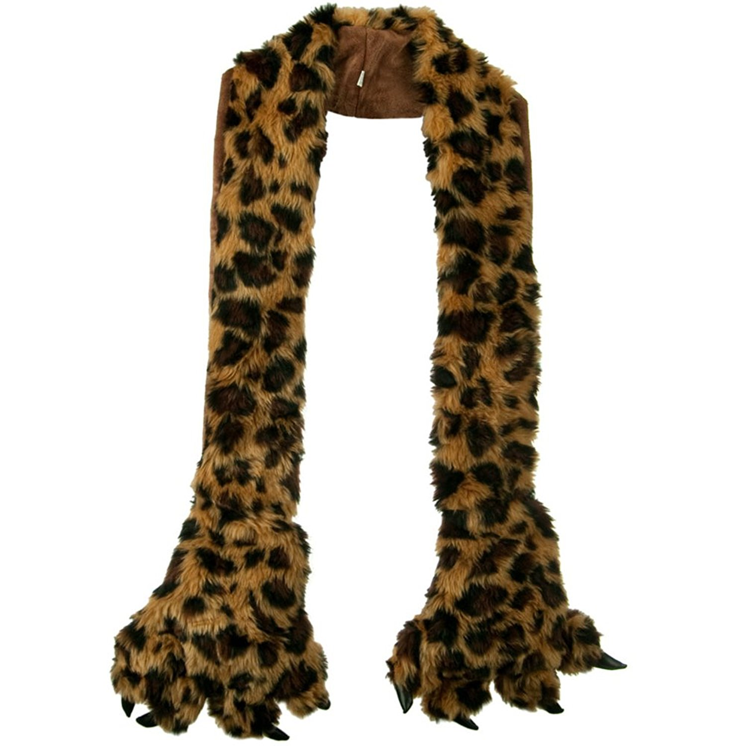 Furry Animal Scarf with Paws - Leopard W30S44E