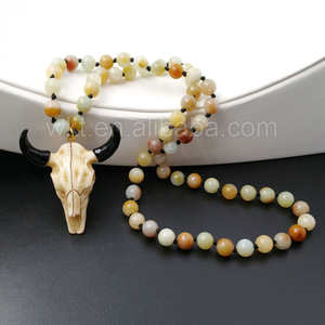 WT-N844 Wholesale Handmade Knotted beads necklace, Round 8 mm Amazonite beads knotted stone necklace with cattle horn pendant