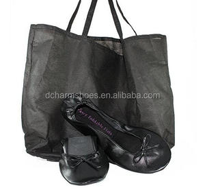 Womens shoes large size Fold up ballet flats with expandable tote bag