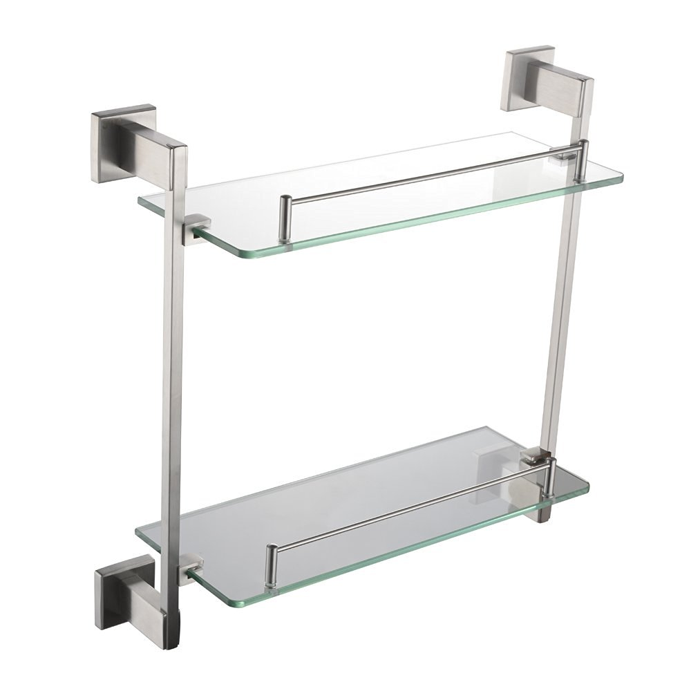 "Bathroom Double Glass Shelf 16.54"", Angle Simple SUS303 Stainless Steel with Thick Tempered Glass, 2 Tier Bathroom Shelf, Storage Wall Shelf, Bathroom Organizer, Little Shelf Vanity Shelf Wall Mount"