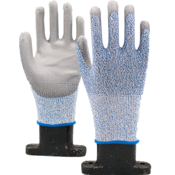 GLOVEMAN 13Gauge Blue Hppe liner with Pu coated level 5 cut resistant safety working gloves