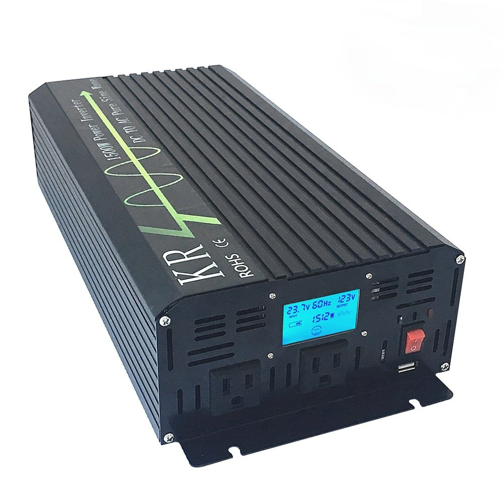 KRXNY 1500W Off Grid Pure Sine Wave Power Converter 24V to 120V 60HZ Home Use Solar Inverter USB Port