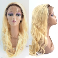 honey blonde human hair wig-full lace wig,blonde full lace wig dark roots
