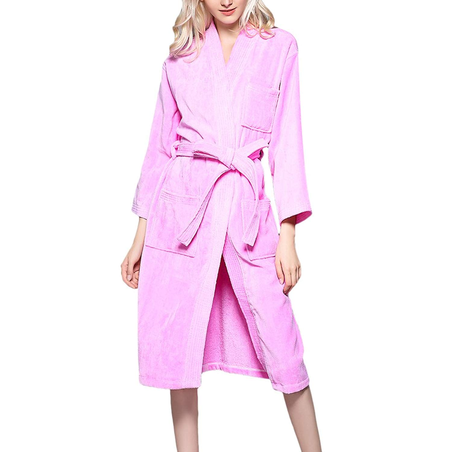 Get Quotations · Zhhlinyuan Unisex Soft Terry Towelling Bath Robe Dressing  Gown Cotton Bathrobe 461277408