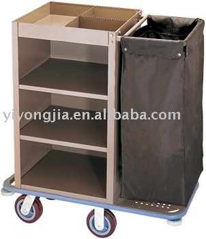 Metal Housekeeping Cart Service Trolley For Hotels Maid Laundry Linen