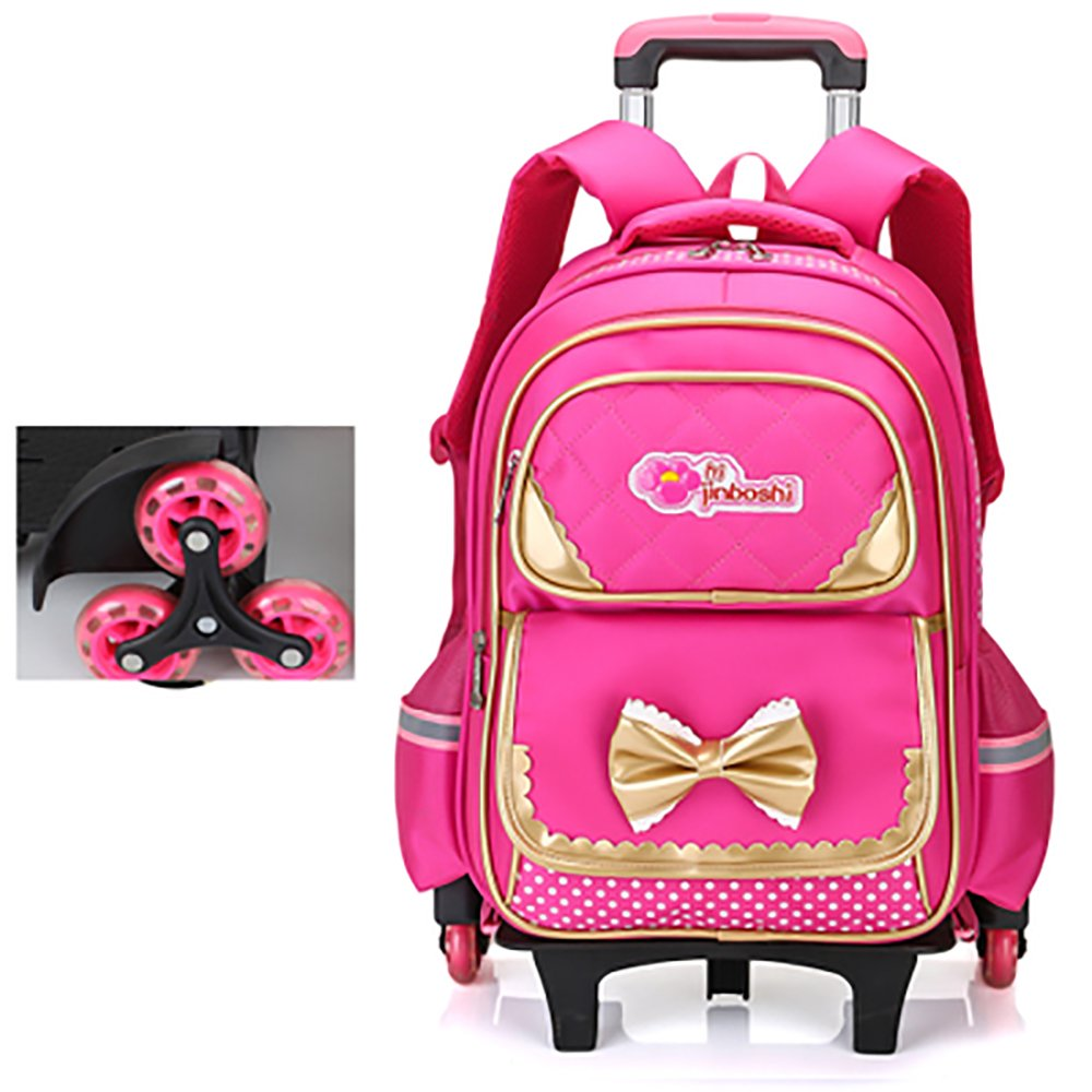 d5a623a35f Get Quotations · HIGOGOGO Rose Red Rolling Backpack for Girls Kids Backpack  with 6 Wheels
