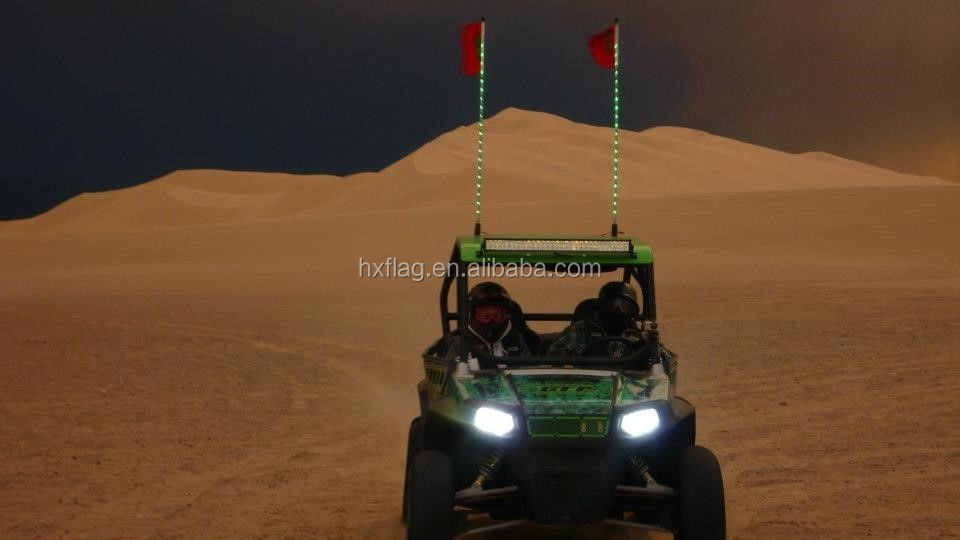 4' GREEN Tribal Whips NightStalker LED Lighted Whips atv utv sand dunes flag