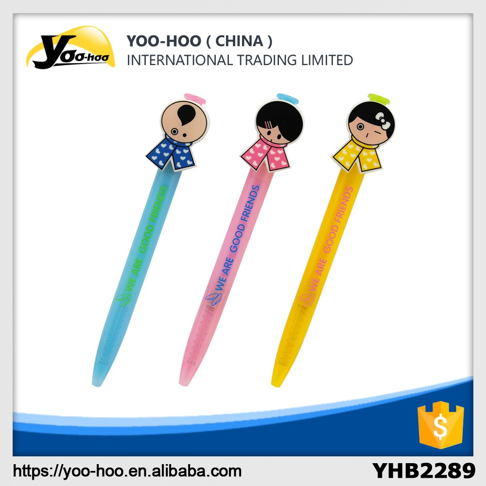 Promotional plastic ball pen with cute top