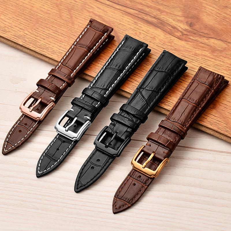 12-24mm bamboo pattern genuine calfskin leather watch strap фото