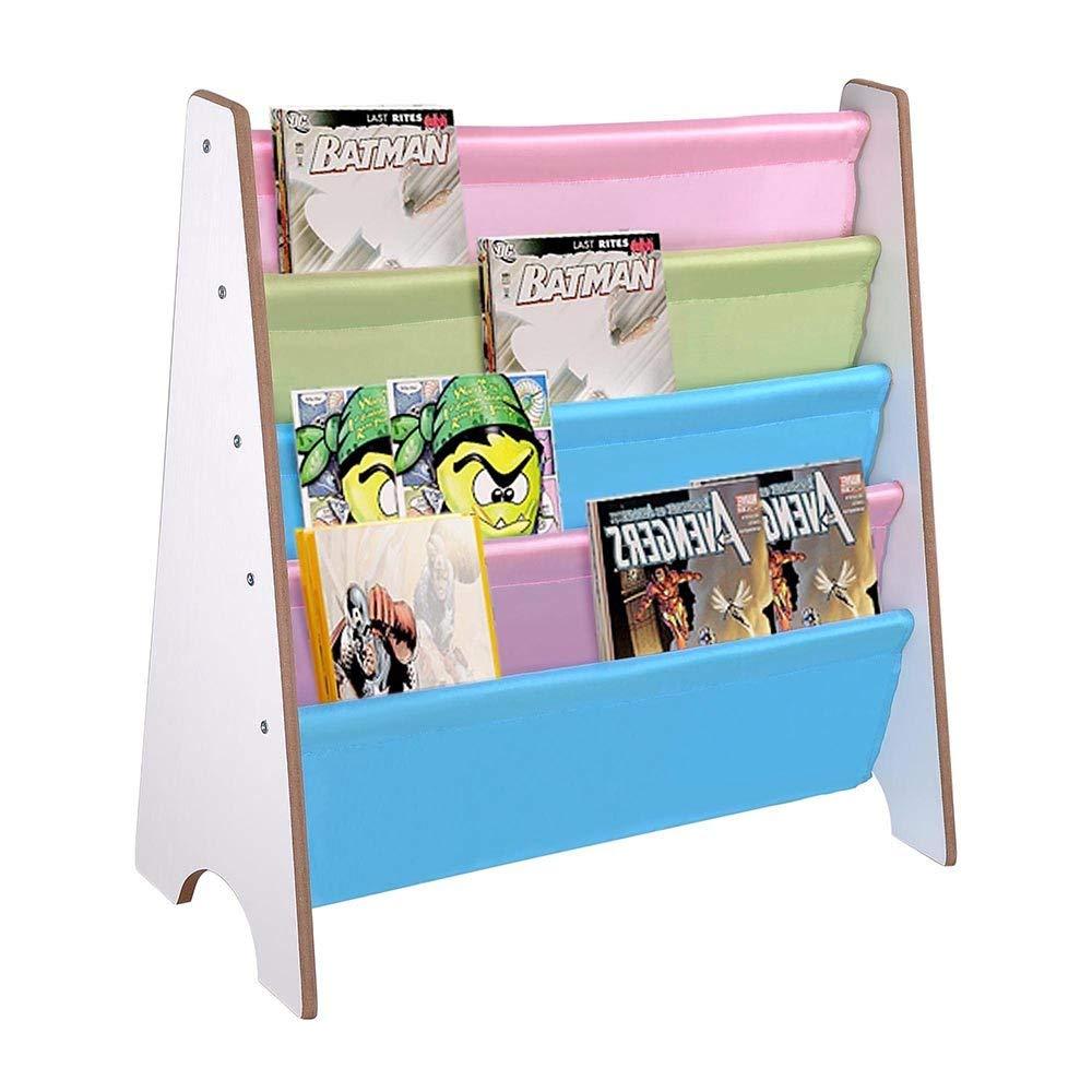 Wood Kids Book Shelf Sling Storage Rack Organizer Bookcase Display Holder Opt. (White)