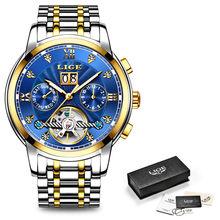 Новый LIGE Для мужчин часы мужской лучший бренд класса люкс автоматические механические часы Для мужчин Водонепроницаемый полный Сталь Бизн...(Китай)